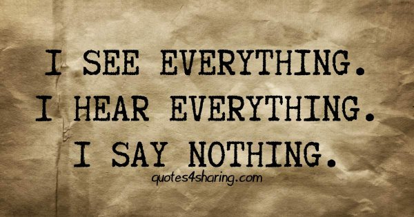 I see everything. I hear everything. I say nothing