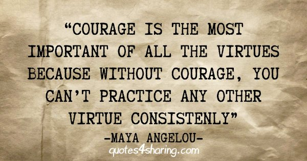 """Courage is the most important of all the virtues because without courage, you can't practice any other virtue consistenly"" - Maya Angelou"