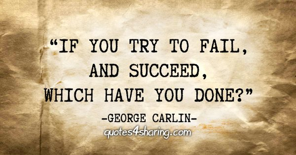"""If you try to fail, and succeed, which have you done?"" - George Carlin"