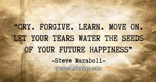 """Cry. Forgive. Learn. Move on. Let your tears water the seeds of your future happiness"" - Steve Maraboli"