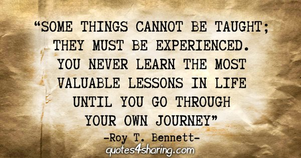 """Some things cannot be taught; they must be experienced. You never learn the most valuable lessons in life until you go through your own journey."" - Roy T. Bennett"