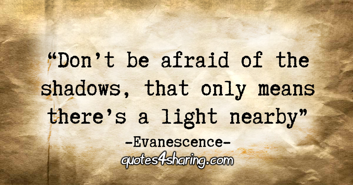 """""""Don't be afraid of the shadows, that only means there's a light nearby."""" - Evanescence"""