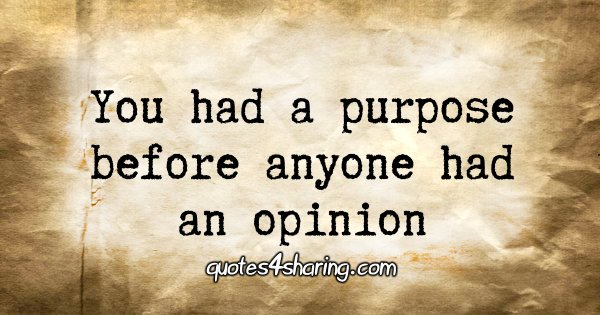 You had a purpose before anyone had an opinion