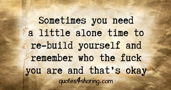 Sometimes you need a little alone time to re-build yourself and remember who the fuck you are and that's okay