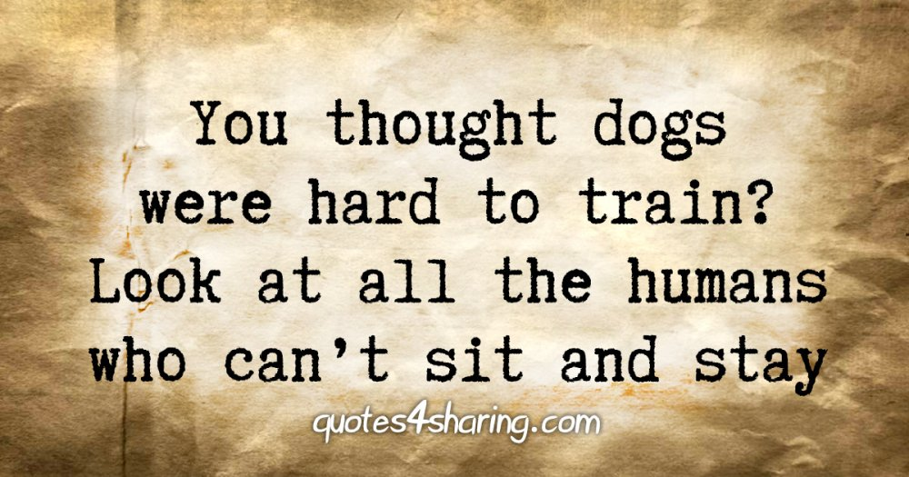 You thought dogs were hard to train? Look at all the humans who can't sit and stay