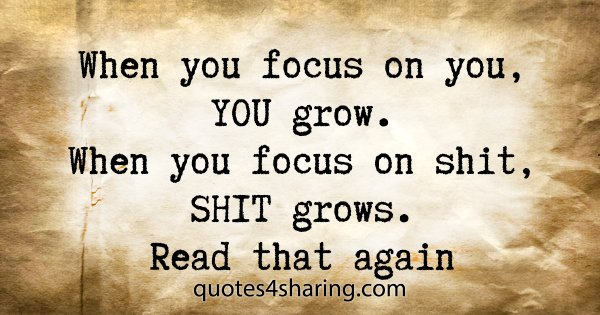 When you focus on you, YOU grow. When you focus on shit, SHIT grows. Read that again