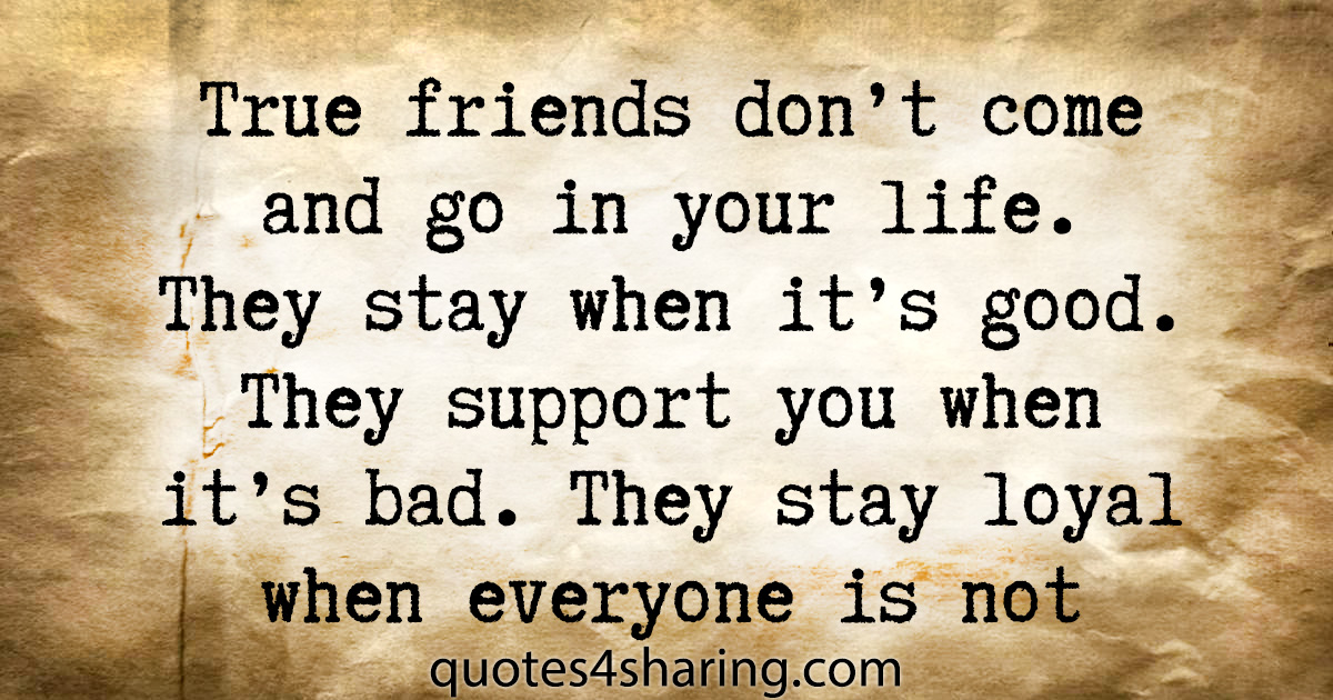True friends don't come and go in your life. They stay when it's good. They support you when it's bad. They stay loyal when everyone is not